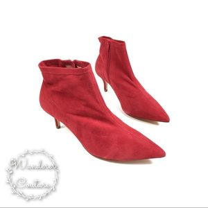 RAYE Surge Red Suede Sock Heeled Ankle Boots